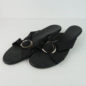 Munro American Black Leather Slide Comfort Sandals
